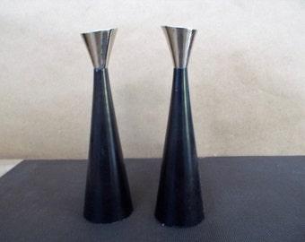 Pair of Mid Century Modern Heavy Black Bronze and Nickel Cone Candlesticks
