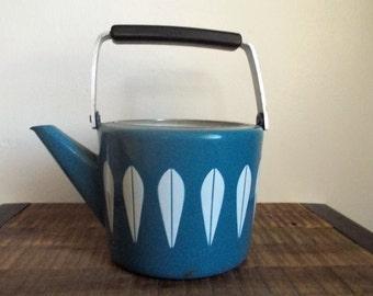 Vintage Cathrineholm Tea Kettle White on Blue Lotus Pattern No Lid