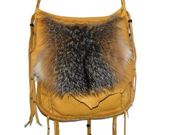 SALE Fox fur and leather possibles bag mountain man unisex cross body pocket
