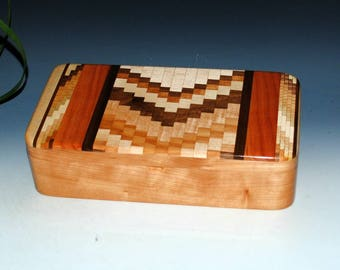 Upcycled Cutting Board & Cherry Handmade Wooden Box With Tray by BurlWoodBox - Wood Jewelry Box, Wood Stash Box, Wooden Jewelry Box, Boxesy
