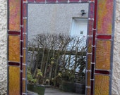 Stained glass mirror | decorative | medium-sized | made-to-order | handcrafted | leaded light | sandblasted border | one-off design | yellow
