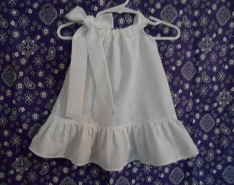 Pillowcase dress girls white flowers on white tone on tone infant thru 2 years