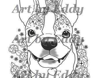 art of boston terrier single coloring page - Boston Terrier Coloring Page
