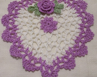 crocheted heart doily purple and white  handmade