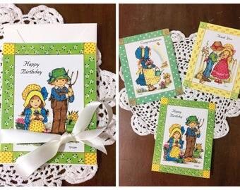 Vintage Greeting Cards and Envelopes Unused Prairie Illustrations Set of 3