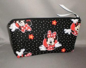 Cosmetic Bag - Makeup Bag - Large Zipper Pouch - Minnie Mouse