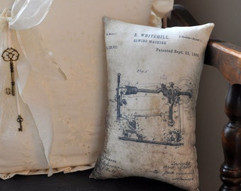 Patent Sewing Machine Drawing pillow