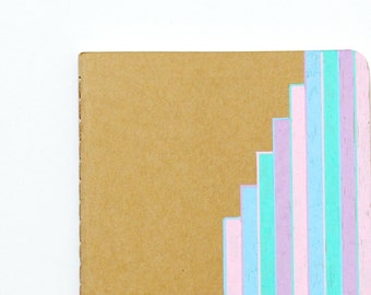 Notebook, Lined Notebook, Pastel, Stripes, Illustration, Travel Journal, Idea Notebook, Waterfall Stripes, OOAK, gift for her, small gift