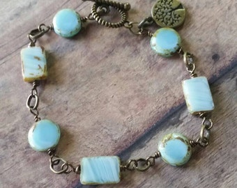 Baby Blue Bliss bracelet/ Beachy, Bohemian