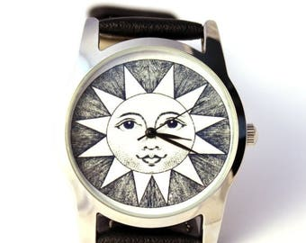 ON SALE 30% OFF Watch Sun with antique engraving, mens watch, womens watch