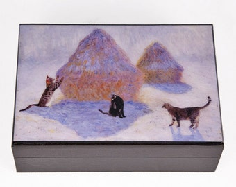 Large Wooden Keepsake Box,Cat Lover Gift,Cat Art,Memory Box,Pet Memorial,Treasure Box,Claude Monet,Deborah Julian