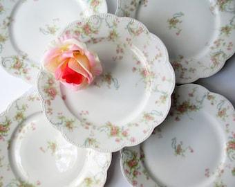 Vintage Limoges Haviland Salad Plates Pink Rose Set of Five