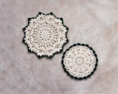 RESERVED FOR PATSY Two Crochet Lace Doilies, Hunter Green and Ecru Table Accessories, New Home Decor