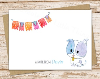 personalized dog note cards . puppy dog stationery . stationary . folded cards . watercolor notecard . doggy pet . kids children . set of 8