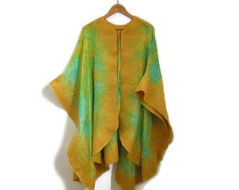 yellow silk poncho with felted edges, lime