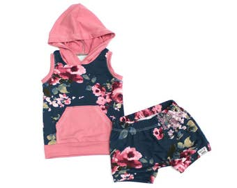 Baby Tank Hoodie and Shorts Set - Baby Girl Outfit - Take Home Outfit - Baby Shorts - Shorties - Pink Floral