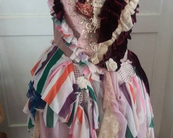 Dress, wedding dress, alternative wedding, faery, victorian, upcycled slip dress, balerina, cream , pink, ruffles, jane austen, forrest fae