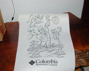 "Rare Columbia Sportswear Gertrude ""Gert"" Boyle and Animal Buddies Department Store Coloring Wrapping Paper Roll  ~ Original Box Included NOS"