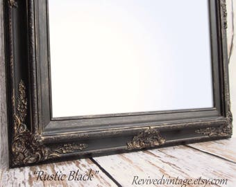 "Framed Black Mirror For Sale Baroque DECORATIVE ORNATE Rustic Black 31""x27"" Large Black Framed Vanity Mirror Bathroom Mirror"