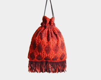 Vintage 70s BEADED Drawstring Fringe Purse / 1970s Red and Black Beaded Diamond Flower Bag