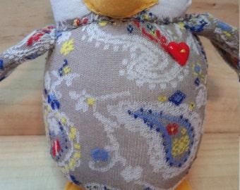 Keene the Owl, handmade, sock animal, plush