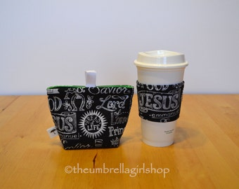 Reusable Medium Snack Bag and Coffee Cup Sleeve - Scripture