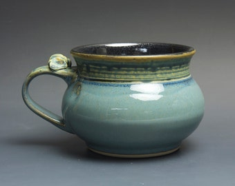 Handmade pottery soup mug ceramic chili mug medium blue cereal cup 22 oz 3724