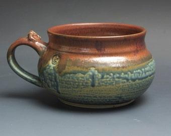 Handmade pottery soup mug ceramic chili mug glossy blue cereal ice cream bowl 24 plus oz 3750a