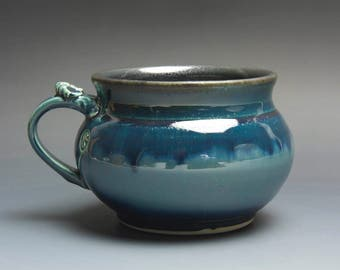 Sale - Handmade pottery soup mug ceramic chili mug glossy blue cereal bowl 24 oz 3828