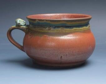 Handmade pottery soup mug ceramic chili mug cereal ice cream bowl iron red 24 plus oz 3882