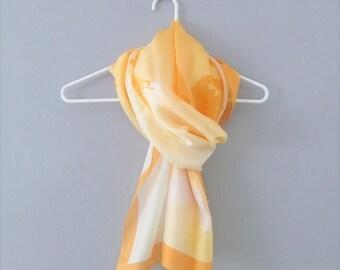 40% OFF SALE Vintage Orange Silk Scarf / Fabulous Yellow and Orange Angels Long Length Head Scarf