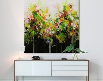 large floral print from original painting flowers garden square print on canvas -more than I asked-Elena 7
