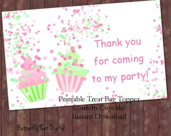 Printable Treat Bag Toppers, Cupcake Confetti Sprinkles, Printable Party Paper, Confetti Clipart, Instant Download