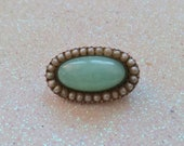 Georgian Chrysoprase and Seed Pearl Brooch - Bonnet, Veil, Lace or Fichu Pin