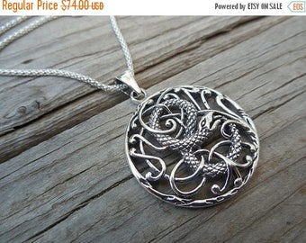 ON SALE Snake necklace, the garden of Eden, handmade in sterling silver