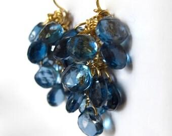 18K Solid Gold London Blue Topaz Earrings