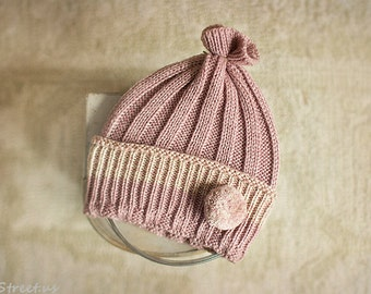 Newborn Hat, Girl Hat, Baby Hat, Tan Pink Hat, Knit Hat, Natural Props, Photo Prop, RTS Props, Baby Lace Hat, Blush Hat, Newborn props