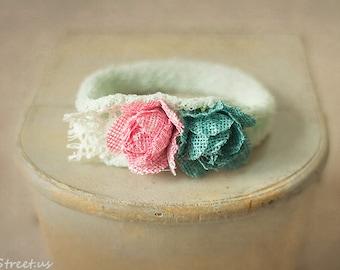 Baby Headband,  Pink and Turquoise Headband, Newborn Headband, Baby Girl Photo Prop, Aqua Newborn Props, RTS, Baby Props, Organic