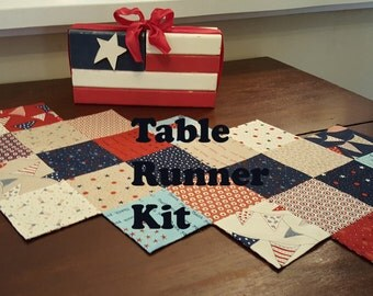 Easy to Sew Kit for Table Runner in Patriotic Prints in Red, Navy, Cream with a USA Flag Print on the Back