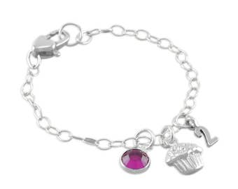 Cupcake Charm Bracelet, Sterling Silver, toddler, little girls jewelry, birthday, couture, high end, boutique, number, personalized PHOEBE