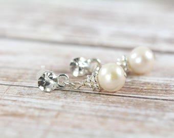 Bridesmaid Pearl Earrings with Rhinestone , White Pearl Dangle Earrings , Bridesmaid Jewelry
