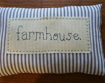 Prim Stitchery farmhouse ticking Pillow ~OFG