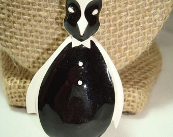 1980s Black and White Large Penguin Pin.