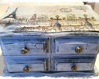 Paris collage art wood jewelry secret box - Paris blue gray, glitter, Eiffel Tower, wish or prayer box