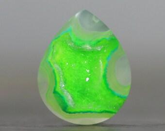 Bezel Set or Wire Wrap Tutorial Setting Gemstone with Flat Back and Bezel Edge Druzy Polished Crystal Quartz Colorful Drusy Stone (20761)