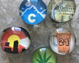 Denver the Mile High City #2 set of five Glass Magnets