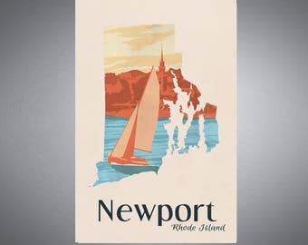 Newport, Rhode Island Sailboat Original Retro Travel Poster