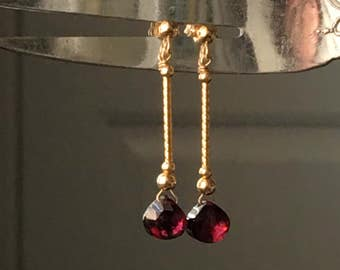 14K Solid Gold & Garnet Drop Earrings