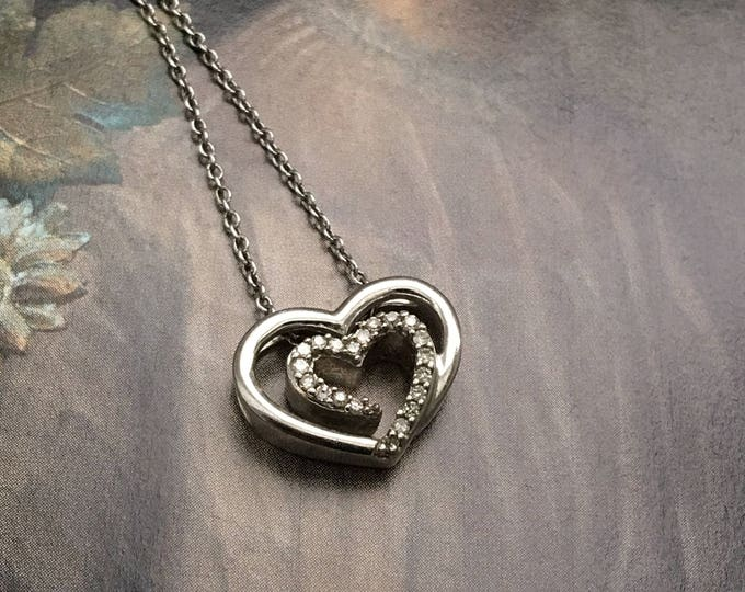 "Diamond Heart Necklace Sterling Silver 18"" Chain"