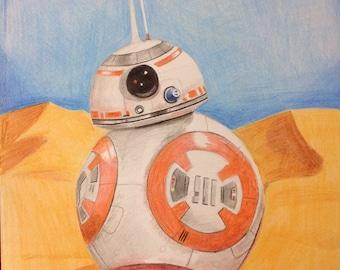 "Original Colored Pencil Drawing ""BB8 Droid"""